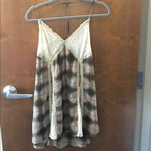 UO out from under plaid lace long flowly tank top